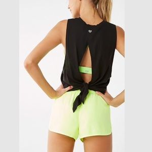 Black Tie Back Cut Out Active Tank Top
